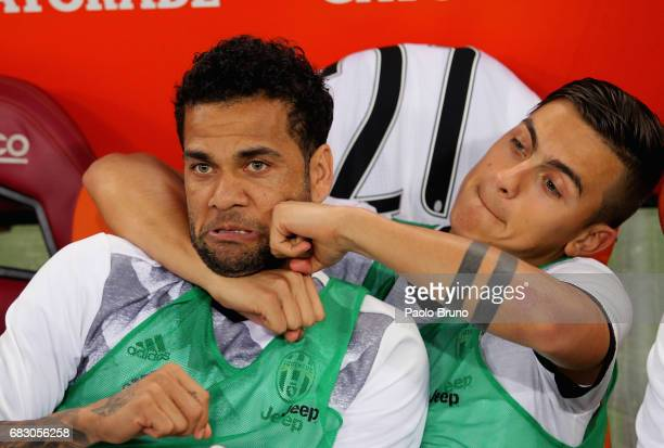Dani Alves and Paulo Dybala of Juventus FC react during the Serie A match between AS Roma and Juventus FC at Stadio Olimpico on May 14 2017 in Rome...
