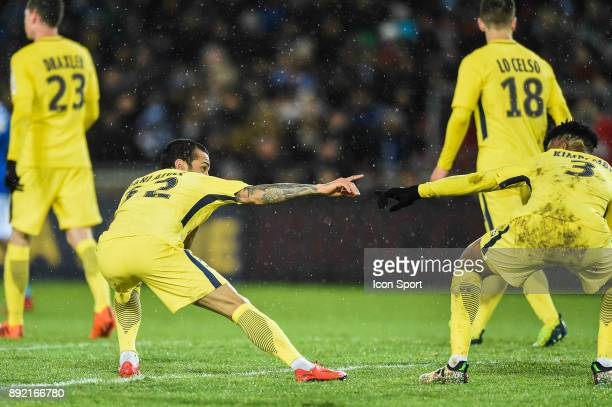 Dani Alves and Presnel Kimpembe of PSG celebrate his goal during the french League Cup match Round of 16 between Strasbourg and Paris Saint Germain...