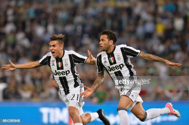 Dani Alves celebrates after scoring goal 10 during the Tim Cup football match FC Juventus vs SS Lazio at the Olympic Stadium in Rome on may 17 2017