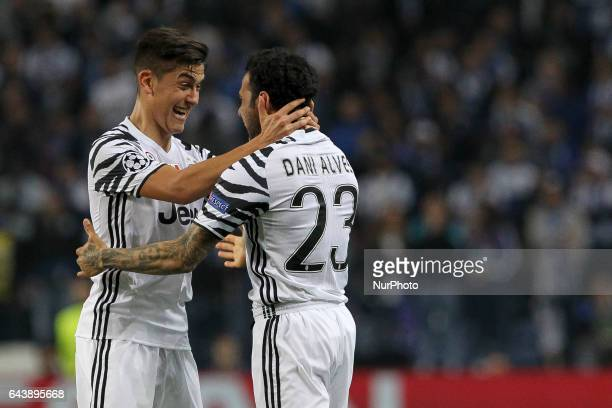 Dani Alves defender of Juventus FC celebrates after scoring goal with teammate Paulo Dybala forward of Juventus FC during the UEFA Champions League...