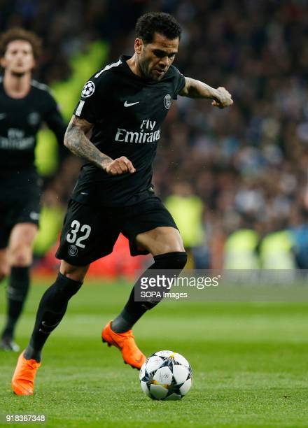 Dani Alves in action during the UEFA Champions league round of 16 match first leg football match between Real Madrid and Paris Saint Germain at...