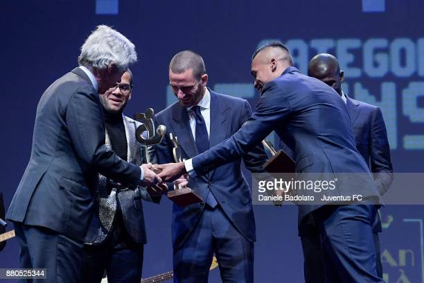Dani Alves Leonardo Bonucci and Alex Sandro attends the Gran Gala Del Calcio 2017 on November 27 2017 in Milan Italy