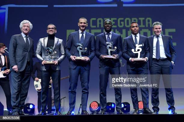 Dani Alves Leonardo Bonucci Kalidou Koulibaly and Alex Sandro attend the Gran Gala Del Calcio 2017 on November 27 2017 in Milan Italy