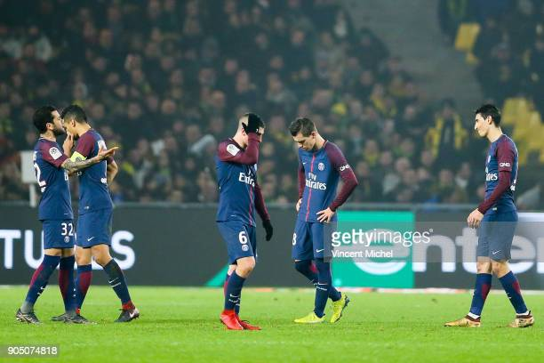 Dani Alves Marquinhos Marco Verratti Giovani Lo Celso and Angel Di Maria of Paris Saint Germain during the Ligue 1 match between FC Nantes and Paris...