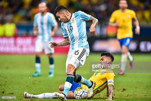 Dani Alves of Brazil and Angel Correa of Argentina battle for the ball during a match between Brazil and Argentina as part 2018 FIFA World Cup Russia...