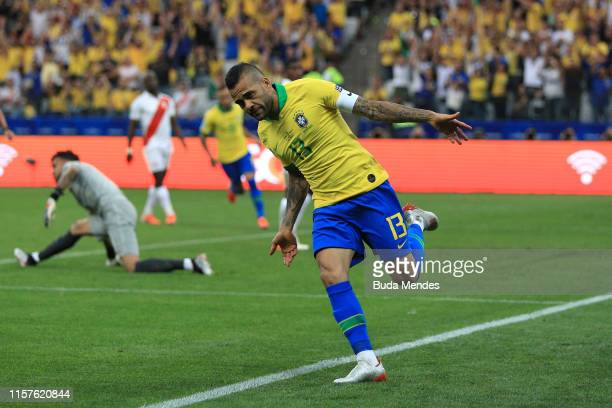 Dani Alves of Brazil celebrates after scoring the fourth goal of his team during the Copa America Brazil 2019 group A match between Peru and Brazil...