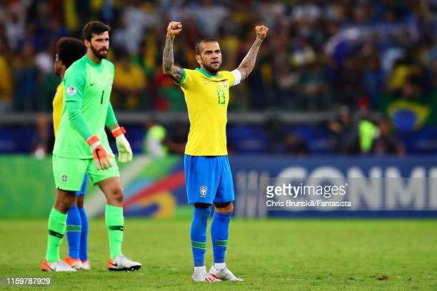 Dani Alves of Brazil celebrates after the Copa America Brazil 2019 Semi Final match between Brazil and Argentina at Mineirao Stadium on July 02 2019...