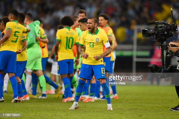 Dani Alves of Brazil celebrates after winning the Copa America Brazil 2019 Semi Final match between Brazil and Argentina at Mineirao Stadium on July...