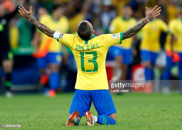 Dani Alves of Brazil celebrates after winning the Copa America Brazil 2019 Final match between Brazil and Peru at Maracana Stadium on July 07 2019 in...