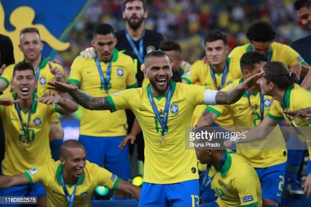 Dani Alves of Brazil celebrates after winning the Copa America Brazil 2019 Final match between Brazil and Peru at Maracana Stadium on July 07 2019 in...