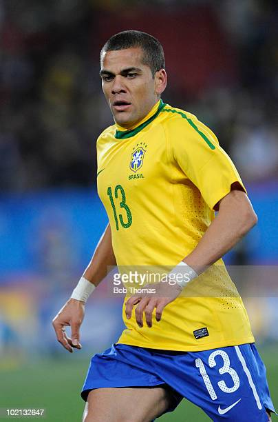 Dani Alves of Brazil competes during the 2010 FIFA World Cup South Africa Group G match between Brazil and North Korea at Ellis Park Stadium on June...