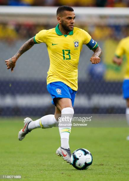 Dani Alves of Brazil controls the ball during the friendly match against Qatar at Mane Garrincha Stadium on June 05 2019 in Brasilia Brazil