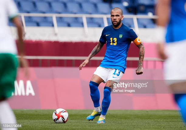 Dani Alves of Brazil controls the ball during the Men's Group D match between Saudi Arabia and Brazil on day five of the Tokyo 2020 Olympic Games at...