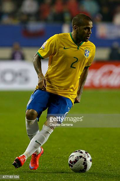 Dani Alves of Brazil drives the ball during the 2015 Copa America Chile Group C match between Brazil and Peru at Municipal Bicentenario Germán Becker...