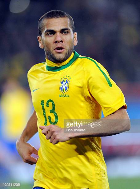 Dani Alves of Brazil during the 2010 FIFA World Cup South Africa Round of Sixteen match between Brazil and Chile at Ellis Park Stadium on June 28...