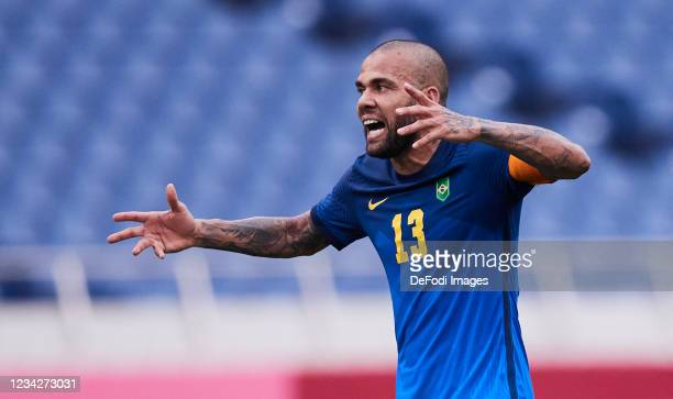 Dani Alves of Brazil gestures during the Men's Group D match between Saudi Arabia and Brazil on day five of the Tokyo 2020 Olympic Games at Saitama...