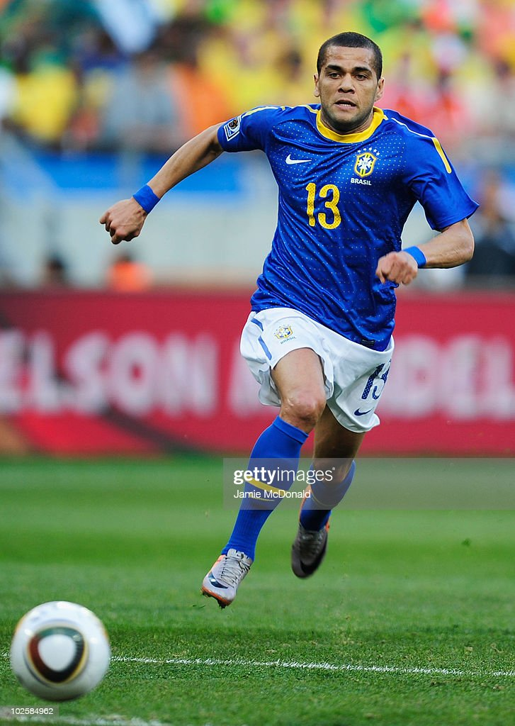 Dani Alves of Brazil in action during the 2010 FIFA World Cup South Africa Quarter Final match between Netherlands and Brazil at Nelson Mandela Bay Stadium on July 2, 2010 in Nelson Mandela Bay/Port Elizabeth, South Africa.