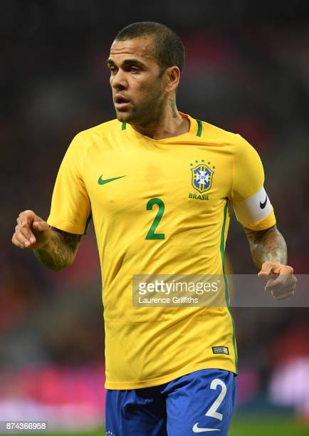 Dani Alves of Brazil looks on during the International Friendly match between England and Brazil at Wembley Stadium on November 14 2017 in London...
