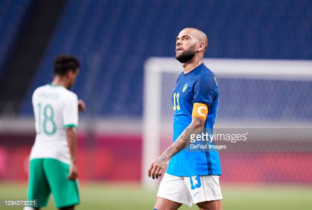 Dani Alves of Brazil looks on during the Men's Group D match between Saudi Arabia and Brazil on day five of the Tokyo 2020 Olympic Games at Saitama...