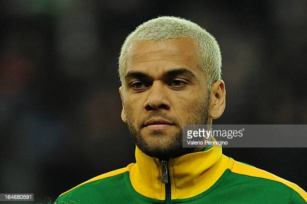 Dani Alves of Brazil looks on prior to the international friendly match between Italy and Brazil on March 21, 2013 in Geneva, Switzerland.