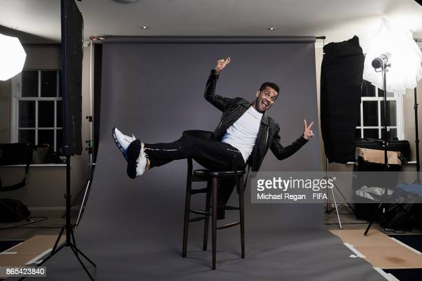 Dani Alves of Brazil poses during The Best FIFA Football Awards at The May Fair Hotel on October 23 2017 in London England