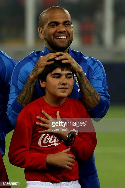 Dani Alves of Brazil smiles prior a match between Peru and Brazil as part of FIFA 2018 World Cup Qualifiers at Nacional Stadium on November 15 2016...