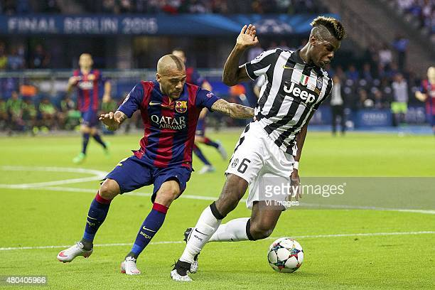 Dani Alves of FC Barcelona Paul Pogba of Juventus FC during the UEFA Champions League final match between Barcelona and Juventus on June 6 2015 at...