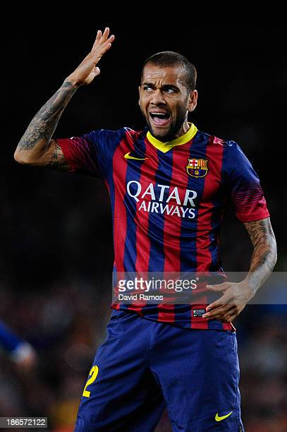 Dani Alves of FC Barcelona reacts after missing a chance to score during the La Liga match between FC Barcelona and RCD Espanyol at Camp Nou on...
