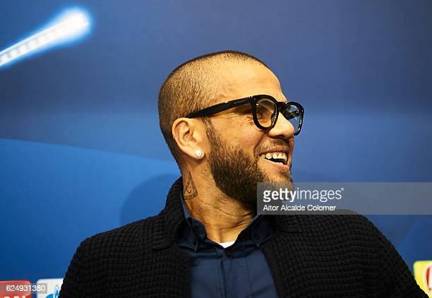 Dani Alves of Juventus attends to the press during the press conference prior to their match of UEFA Champions League between Sevilla FC vs Juventus...