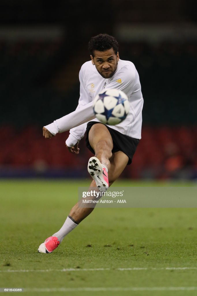 Dani Alves of Juventus during a Juventus training session prior to the UEFA Champions League Final at National Stadium of Wales on June 2, 2017 in Cardiff, Wales.