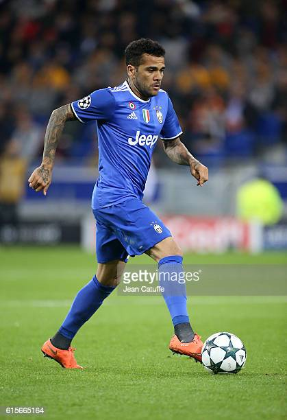 Dani Alves of Juventus in action during the UEFA Champions League match between Olympique Lyonnais and Juventus Turin at Parc OL stadium on October...