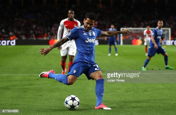 Dani Alves of Juventus in action during the UEFA Champions League Semi Final first leg match between AS Monaco v Juventus at Stade Louis II on May 3...