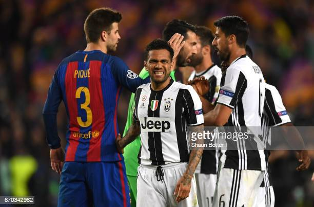 Dani Alves of Juventus looks on after the UEFA Champions League Quarter Final second leg match between FC Barcelona and Juventus at Camp Nou on April...