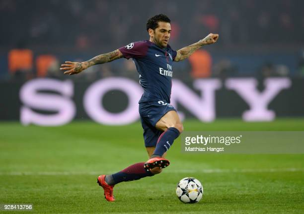 Dani Alves of Paris controls the ball during the UEFA Champions League Round of 16 Second Leg match between Paris SaintGermain and Real Madrid at...
