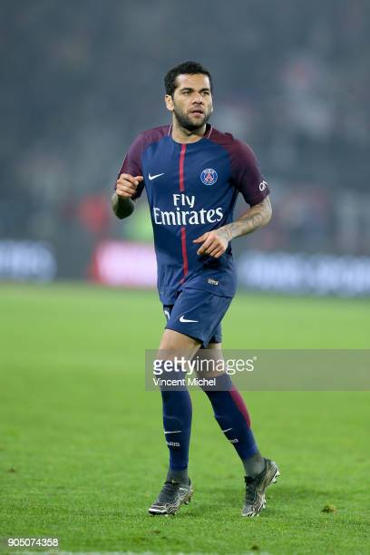 Dani Alves of Paris Saint Germain during the Ligue 1 match between FC Nantes and Paris Saint Germain at Stade de la Beaujoire on January 14 2018 in...