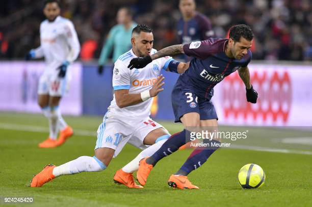 Dani Alves of Paris SaintGermain and Dimitri Payet of Olympique de Marseille fight for the ball during the Ligue 1 match between Paris Saint Germain...