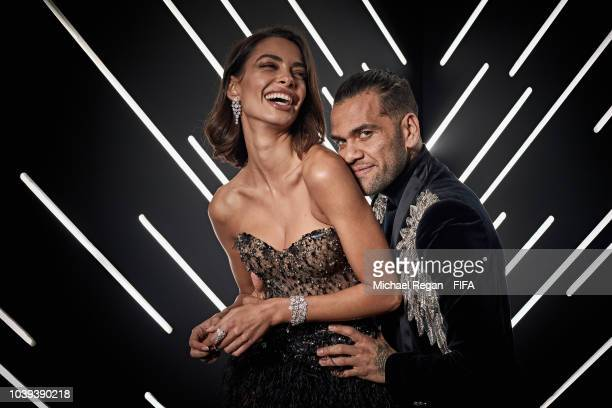 Dani Alves of Paris SaintGermain and Joana Sanz are pictured inside the photo booth prior to The Best FIFA Football Awards at Royal Festival Hall on...