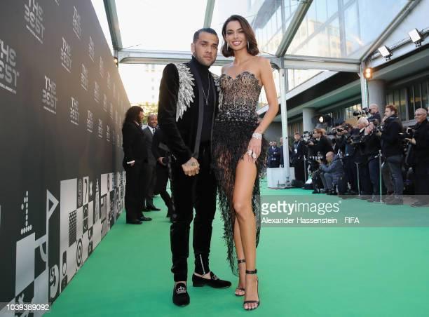 Dani Alves of Paris SaintGermain and Joana Sanz arrives at the Green Carpet during The Best FIFA Football Awards at Royal Festival Hall on September...