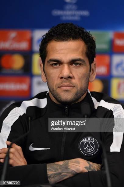 Dani Alves of Paris SaintGermain answers journalists during a press conference before the Champion's League match against Real Madrid at Parc des...