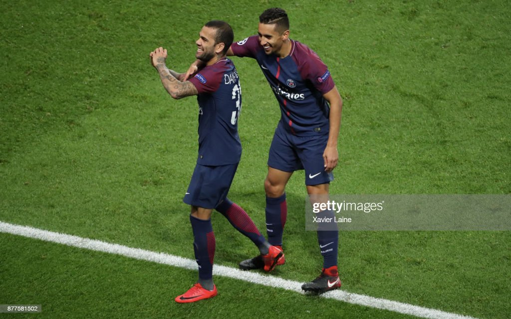 Dani Alves of Paris Saint-Germain celebrate his goal with Marquinhos during the UEFA Champions League group B match between Paris Saint-Germain and Celtic Glasgow at Parc des Princes on November 22, 2017 in Paris, France.