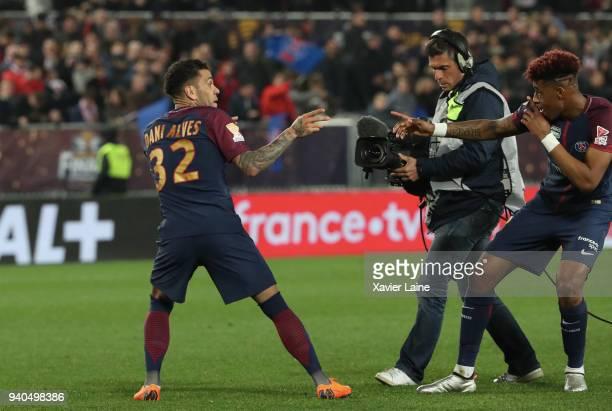 Dani Alves of Paris SaintGermain celebrate the victory with Presnel Kimpembe during the League Cup Final match between Paris SaintGermain and AS...