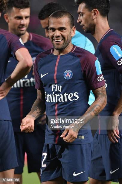 Dani Alves of Paris SaintGermain celebrates at the end of the French Trophy of Champions football match between Monaco and Paris SaintGermain at the...