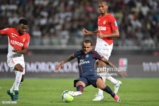 Dani Alves of Paris SaintGermain in action during the French Trophy of Champions football match between Monaco and Paris SaintGermain at the Grand...