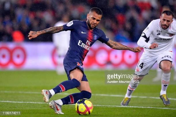 Dani Alves of Paris SaintGermain kicks the ball during the Ligue 1 match between Paris SaintGermain and Dijon FCO at Parc des Princes on May 18 2019...