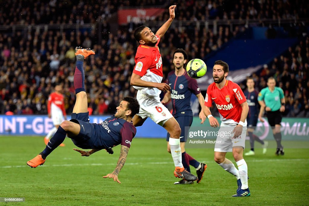 Dani Alves of Paris Saint-Germain tries an overhead kick during the Ligue 1 match between Paris Saint Germain and AS Monaco at Parc des Princes on April 15, 2018 in Paris, France.