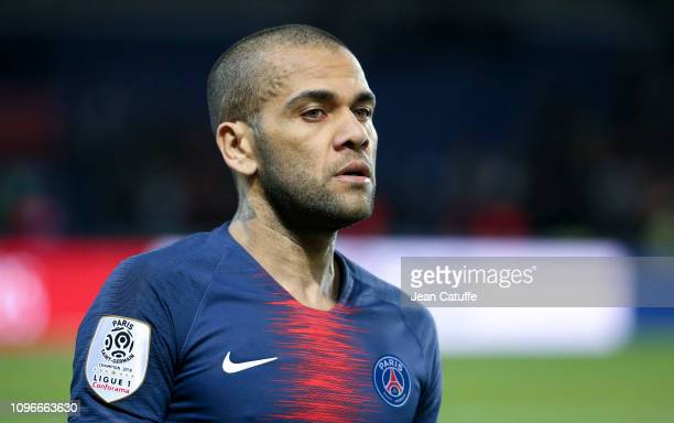 Dani Alves of PSG following the french Ligue 1 match between Paris SaintGermain and Girondins de Bordeaux at Parc des Princes on February 9 2019 in...