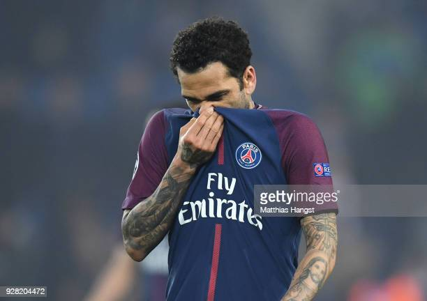 Dani Alves of PSG looks dejected in defeat after the UEFA Champions League Round of 16 Second Leg match between Paris SaintGermain and Real Madrid at...