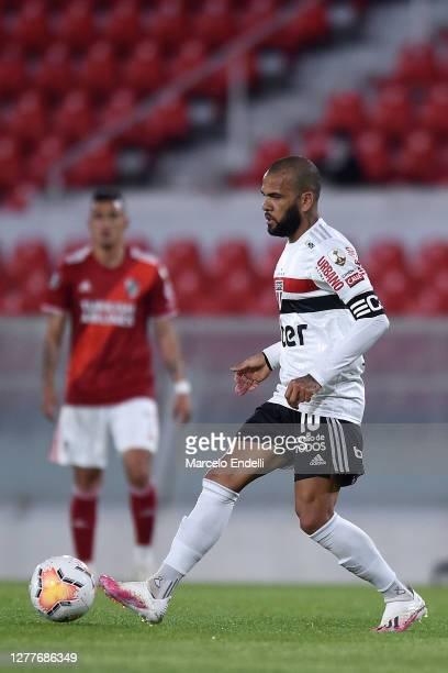 Dani Alves of Sao Paulo controls the ball during a Copa CONMEBOL Libertadores 2020 group D match between River Plate and Sao Paulo at Estadio...