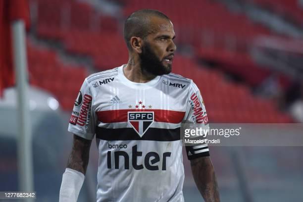 Dani Alves of Sao Paulo looks on during a Copa CONMEBOL Libertadores 2020 group D match between River Plate and Sao Paulo at Estadio Libertadores de...