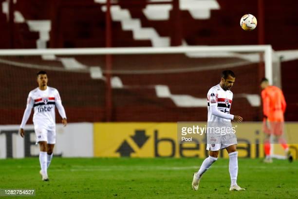Dani Alves of Sao Paulo reacts after a second round match of Copa CONMEBOL Sudamericana 2020 between Lanus and Sao Paulo at Estadio Ciudad de Lanus...